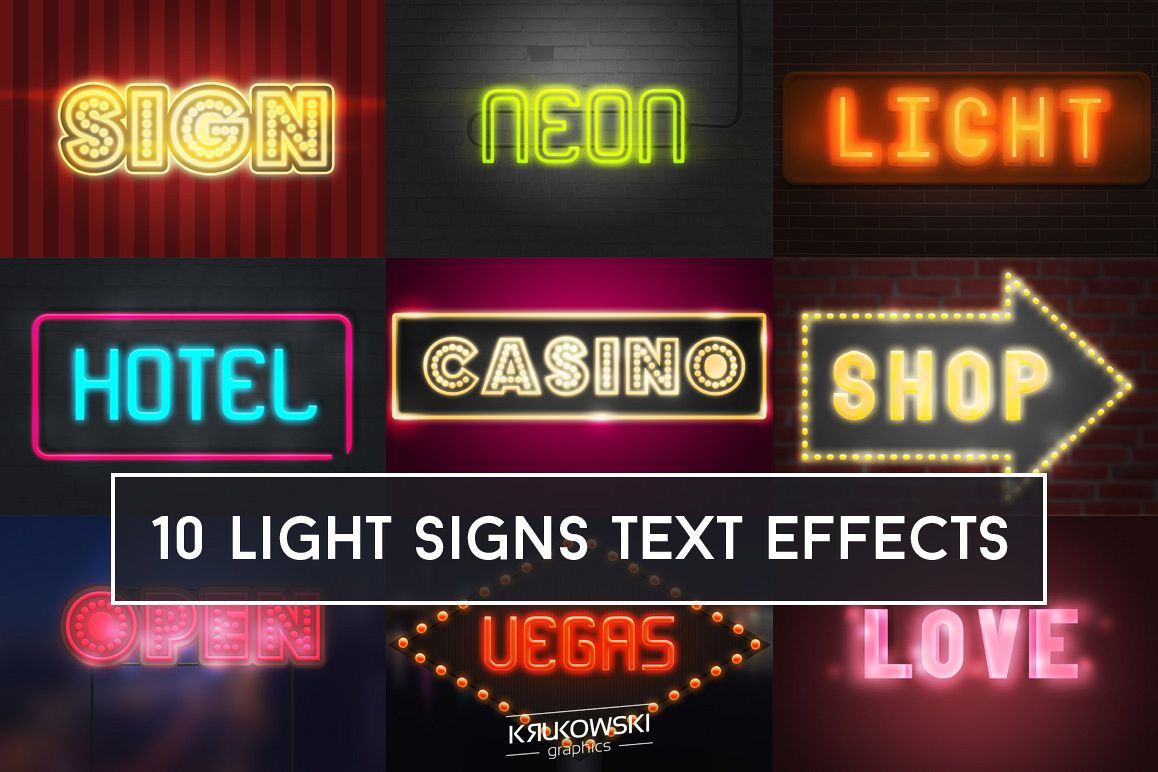 Light Signs Text Effect Mockup