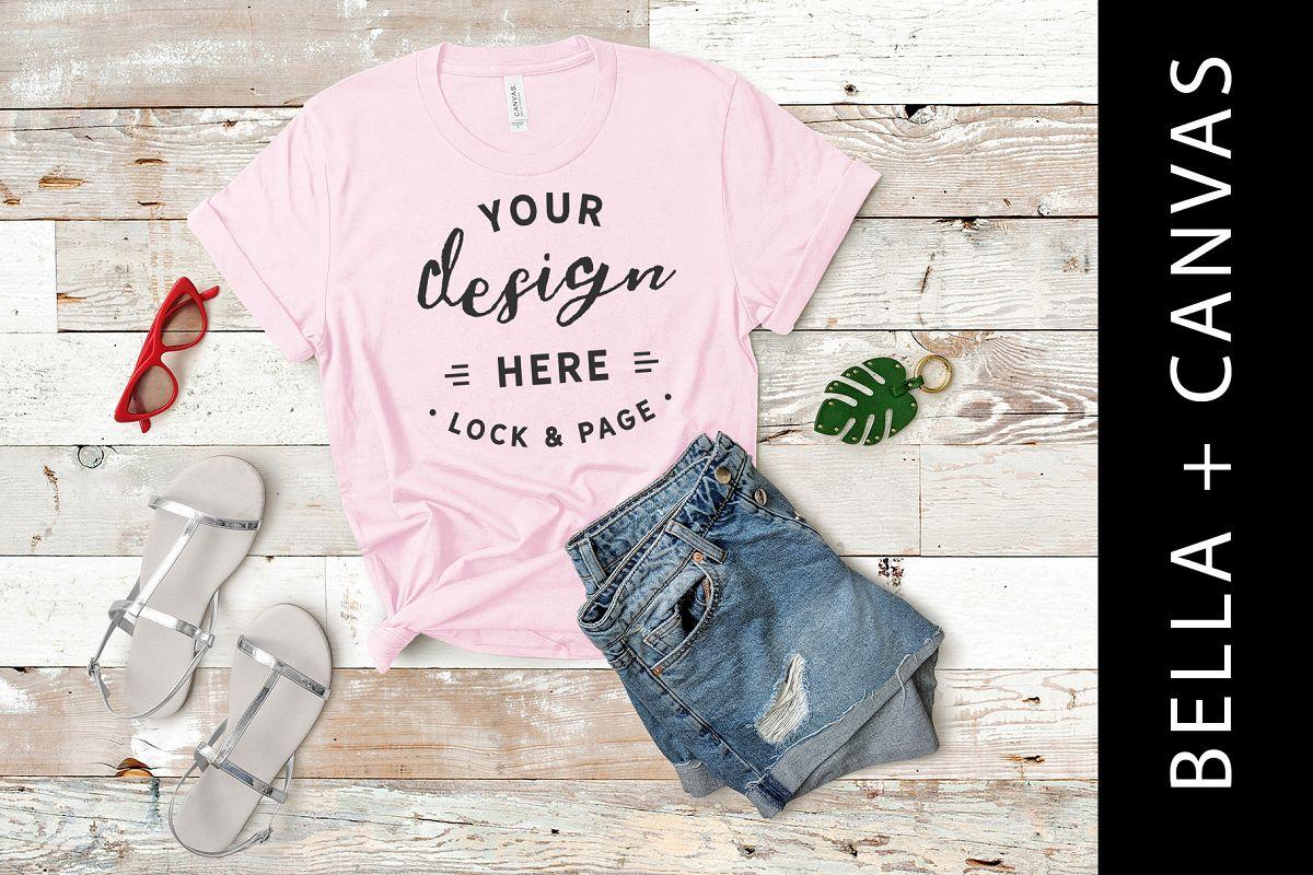 5602a28878e7a Pink Bella Canvas 3001 T Shirt Mockup Girls Fashion Flat Lay