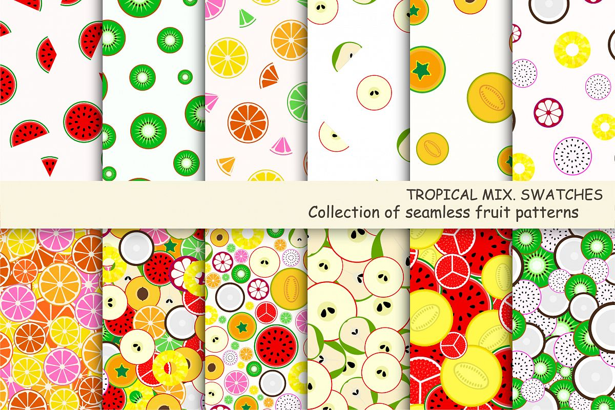Fruit seamless patterns. Swatches. example image 1