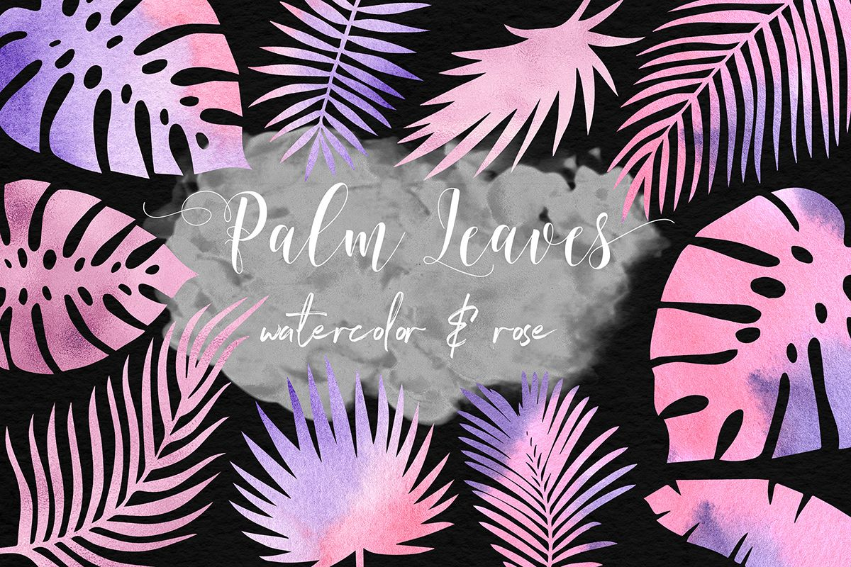 Rose Watercolor & Foil Palm Leaves example image 1