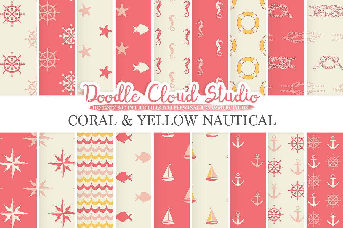 Coral and Yellow Nautical digital paper Pink Seal patterns Ocean Steering wheel Sea waves Anchor backgrounds for Personal & Commercial Use example image 1