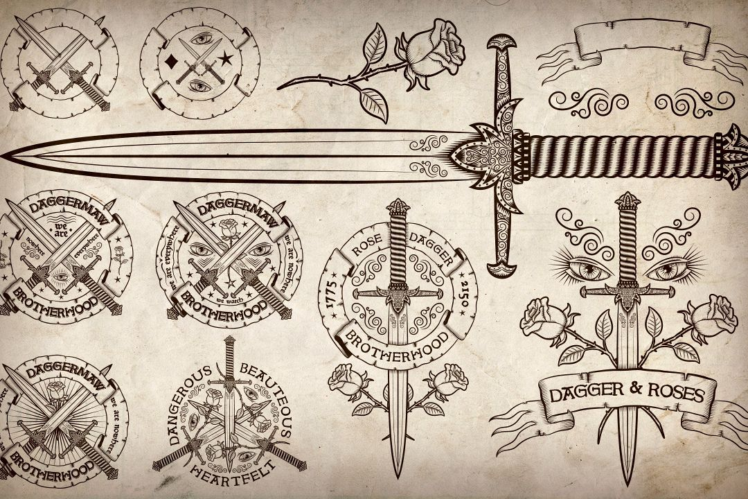 Dagger and Rose vintage logos example image 1