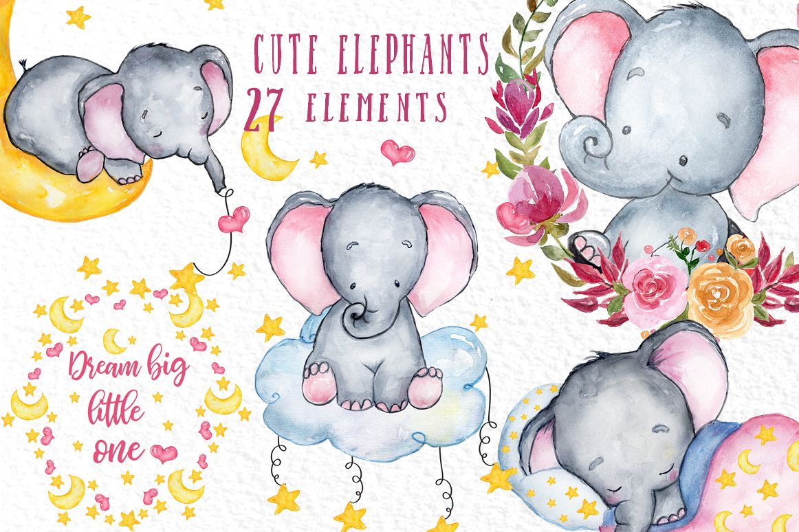 Cute Elephant Clipart Watercolor Animals Baby Shower Clipat