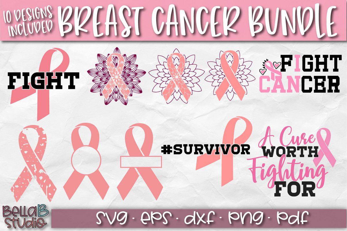 Breast Cancer SVG Bundle, Pink Ribbon Cut Files, BCA SVG example image 1