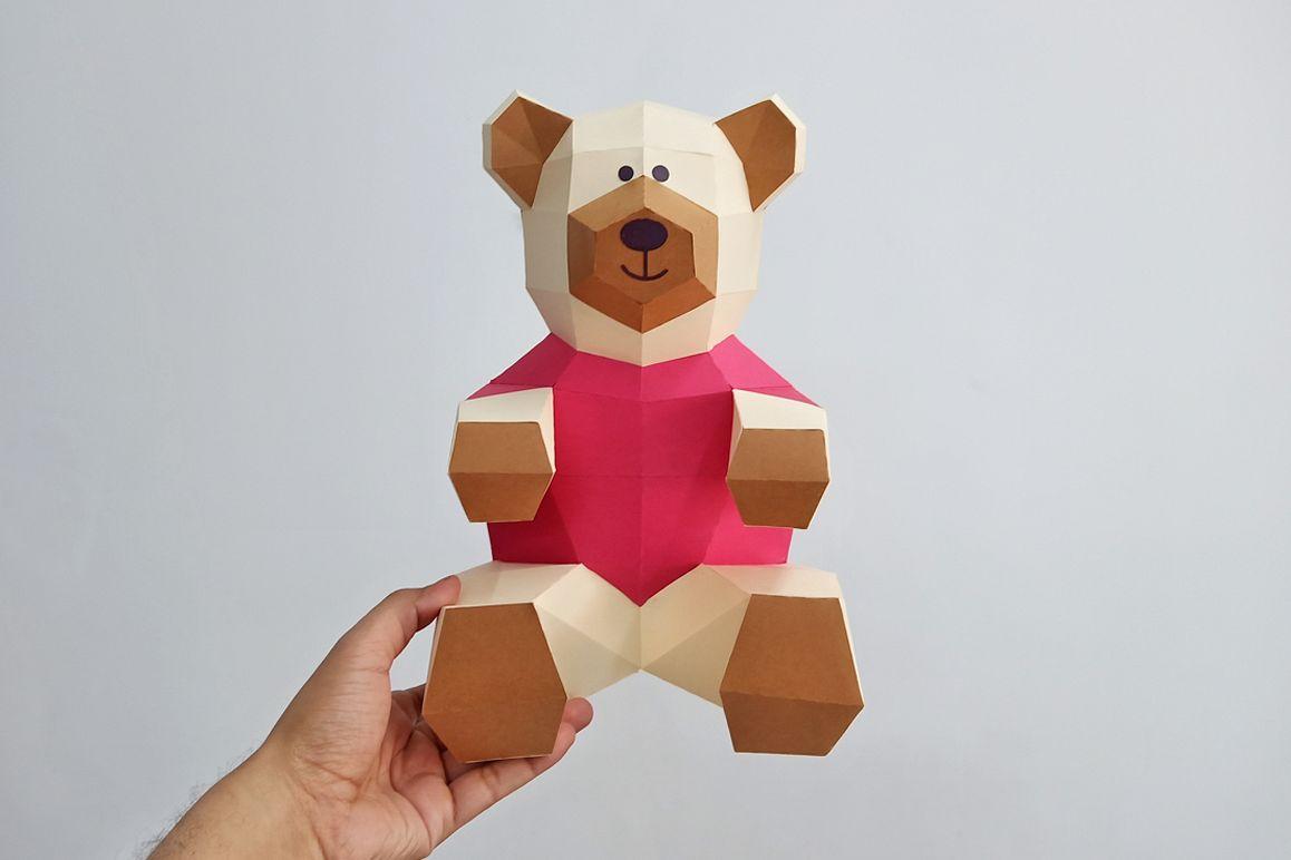 DIY Teddy bear,Papercraft Teddy bear,Paper Bear,Svg files example image 1