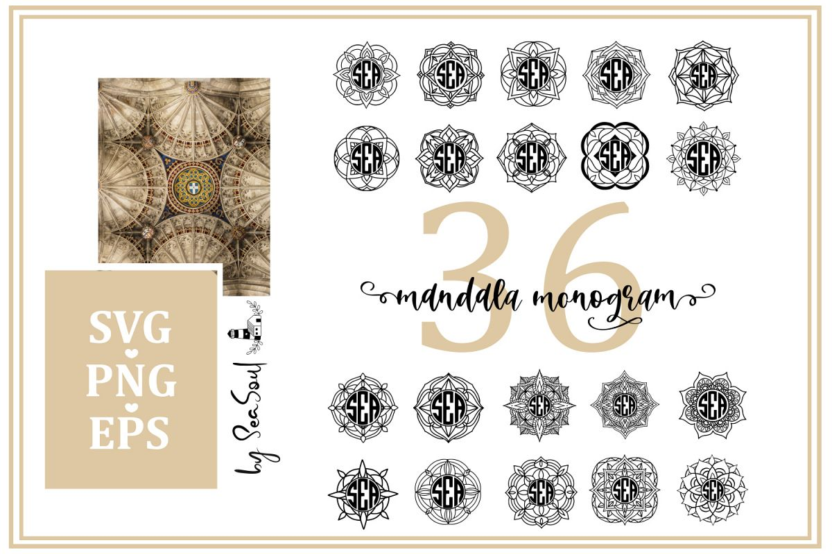 Mandala Monogram. EPS, PNG, SVG example image 1