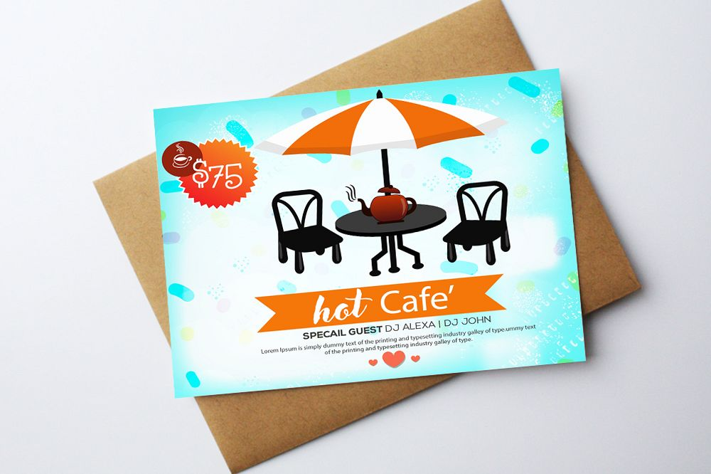 Hot Cafe Shop Card Template example image 1