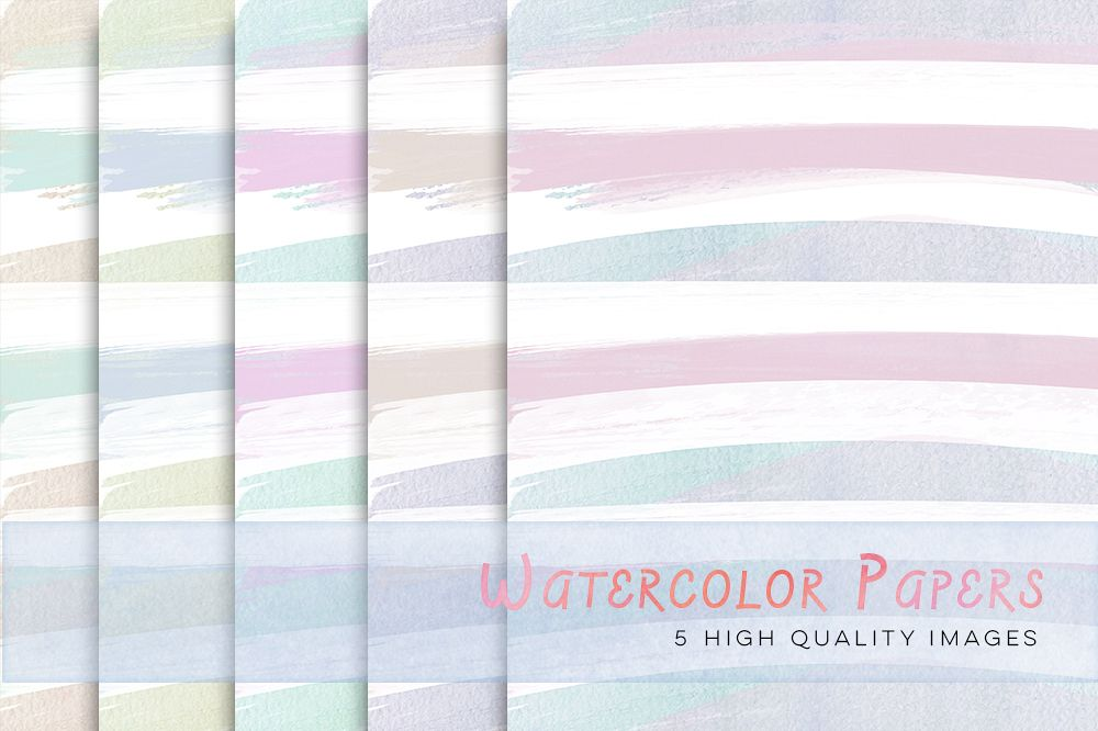 Pastel Watercolour Stripes Digital Papers, Pastel Digital Papers, Pastel Stripes, Stripes paper for commercial use, Watercolor digital paper example image 1