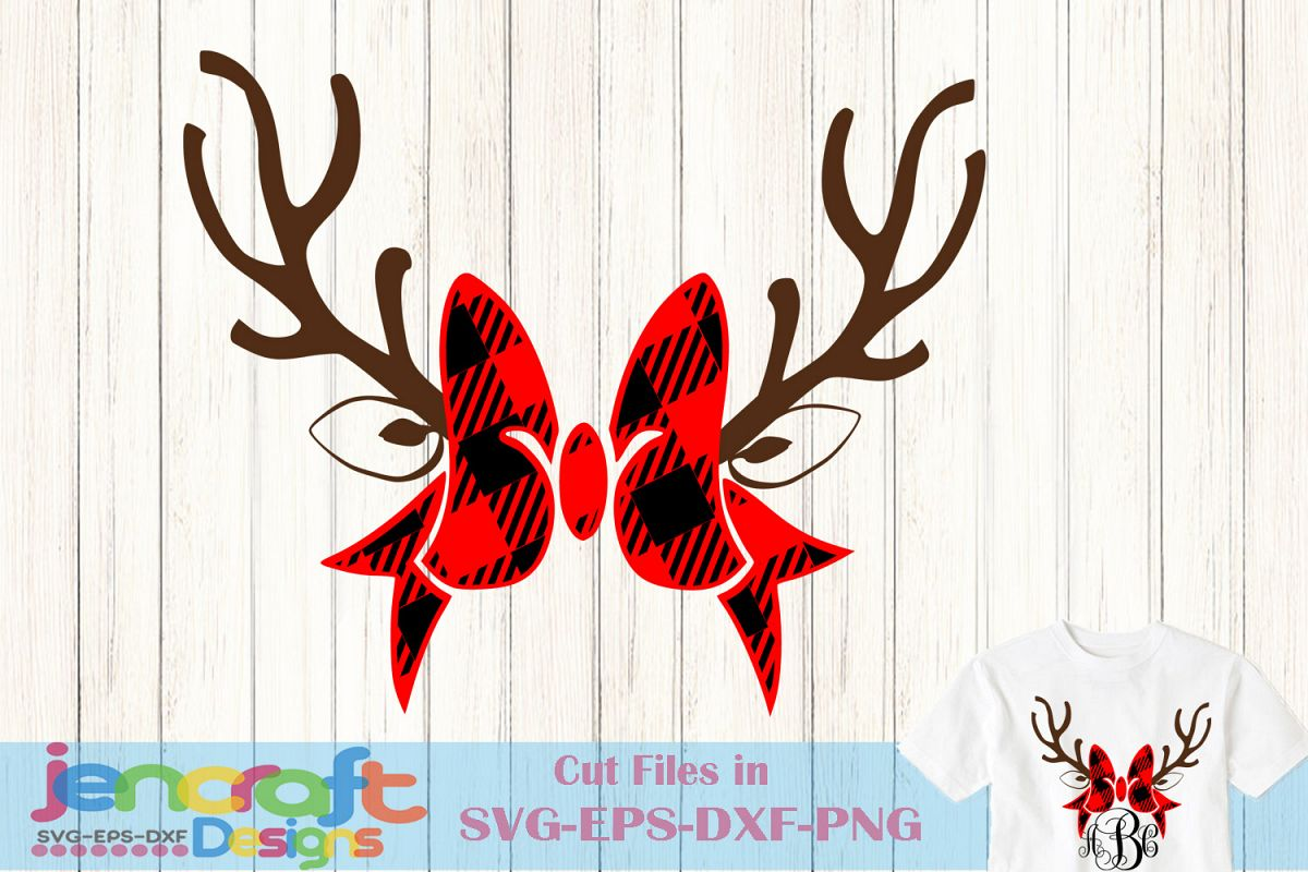 Plaid Antlers Bow monogram frame Deer SVG - Christmas SVG example image 1