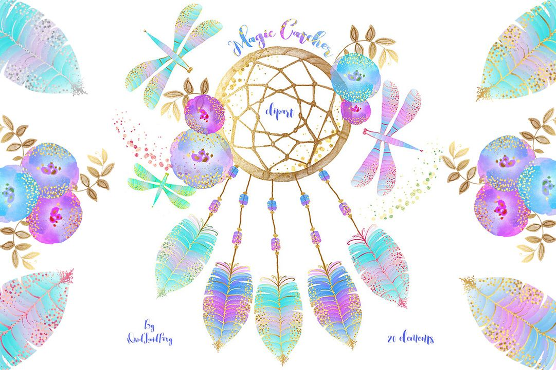 Dream catcher clip art, digital watercolor clipart, feathers with gold confetti, flowers, dragonflies, Translucent and neon effects, magic example image 1