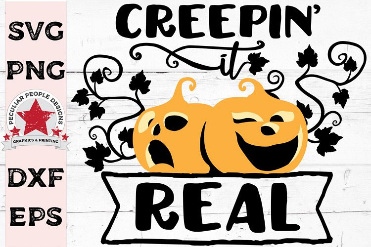 Creepin It Real Halloween SVG cut file, cute funny pumpkins example image 1