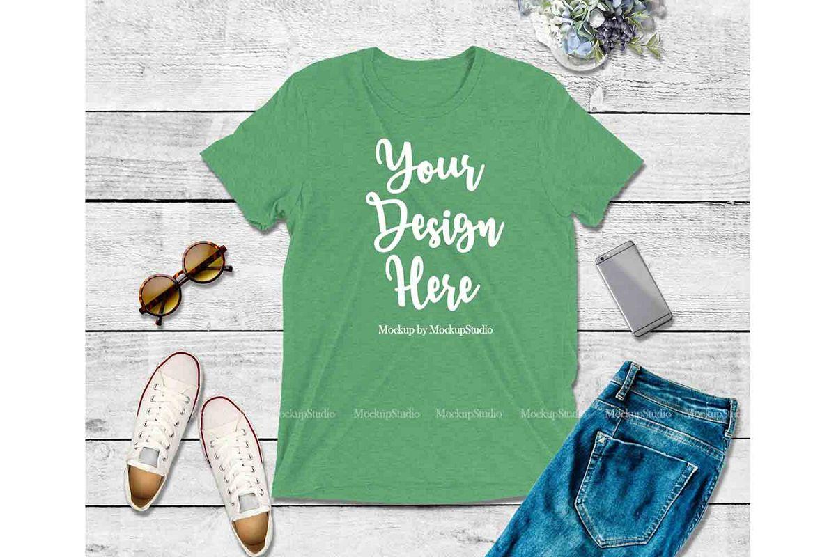 Green Shirt Mock Up, Bella Canvas 3413 Tshirt Mockup Displa example image 1
