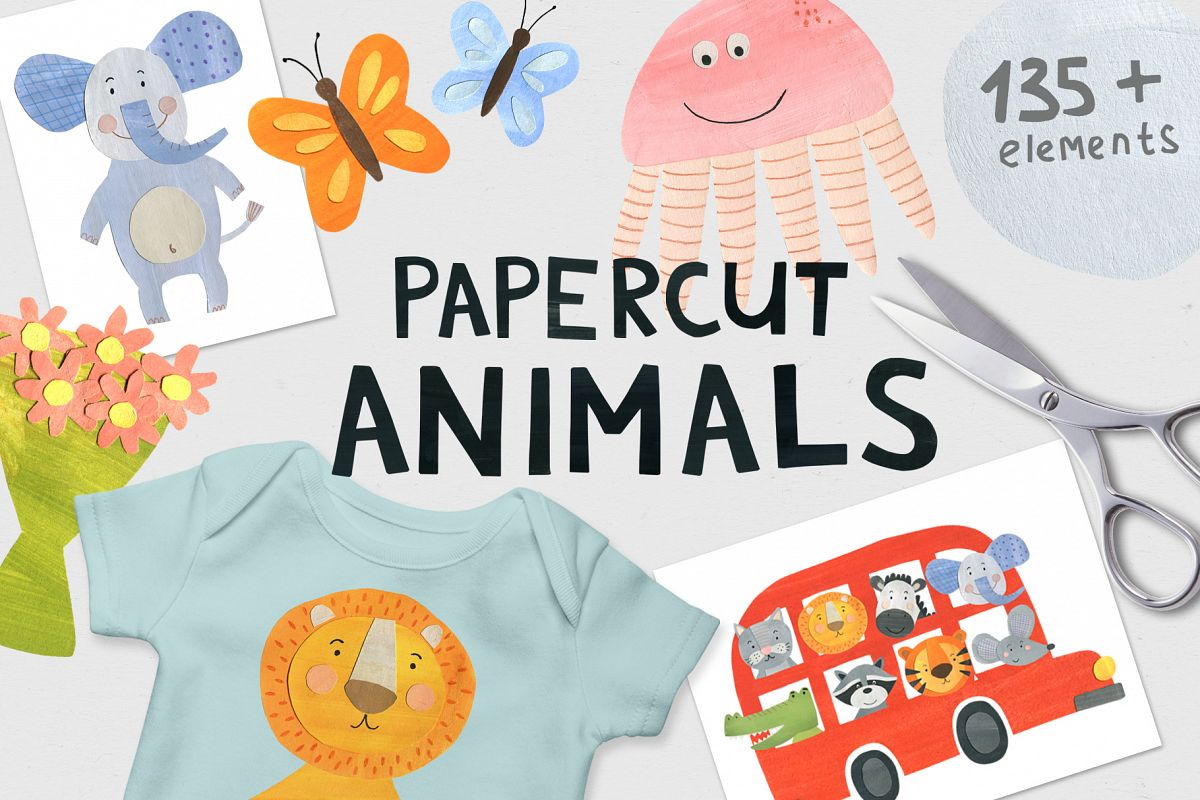 Papercut Animals Clipart example image 1