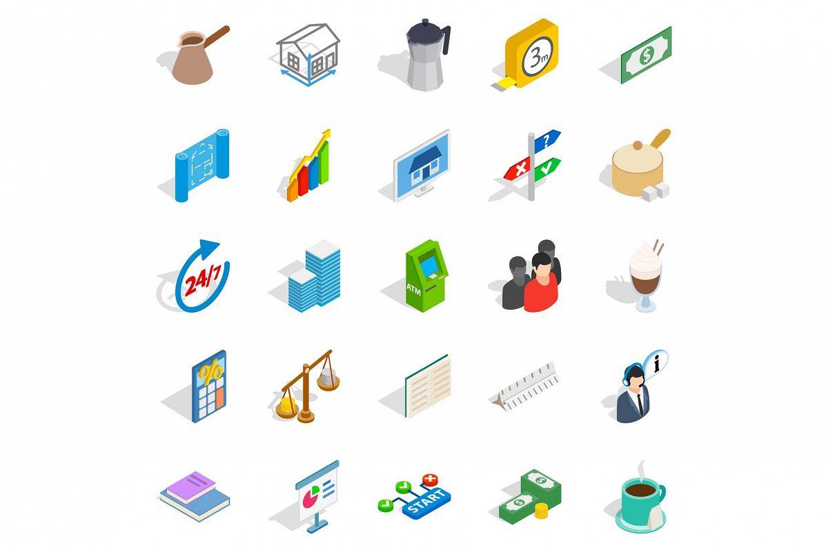 Business model icons set, isometric style example image 1