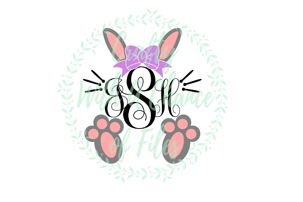 Girl Bunny Monogram SVG - Easter Design example image 1