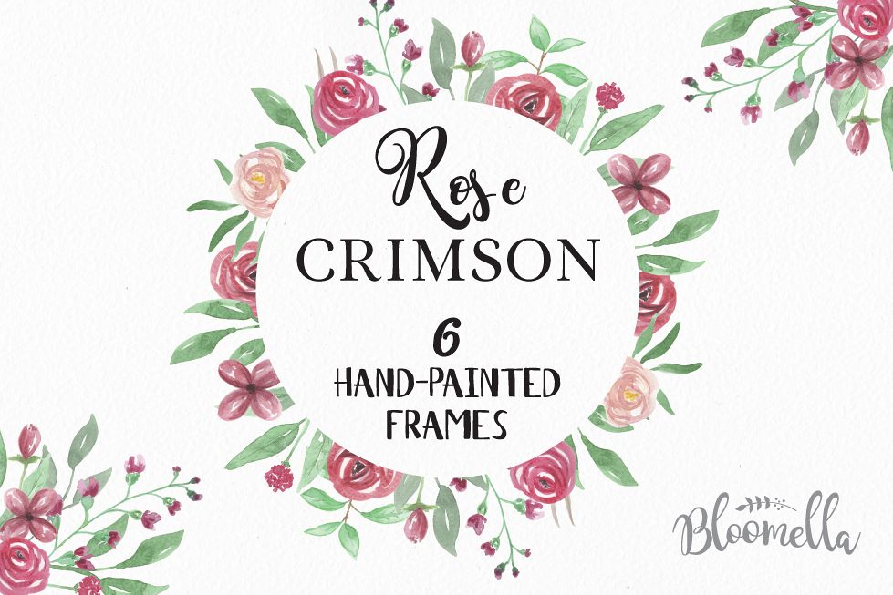 Rose Crimson Frames Watercolor Pretty Clipart Border Flowers Roses