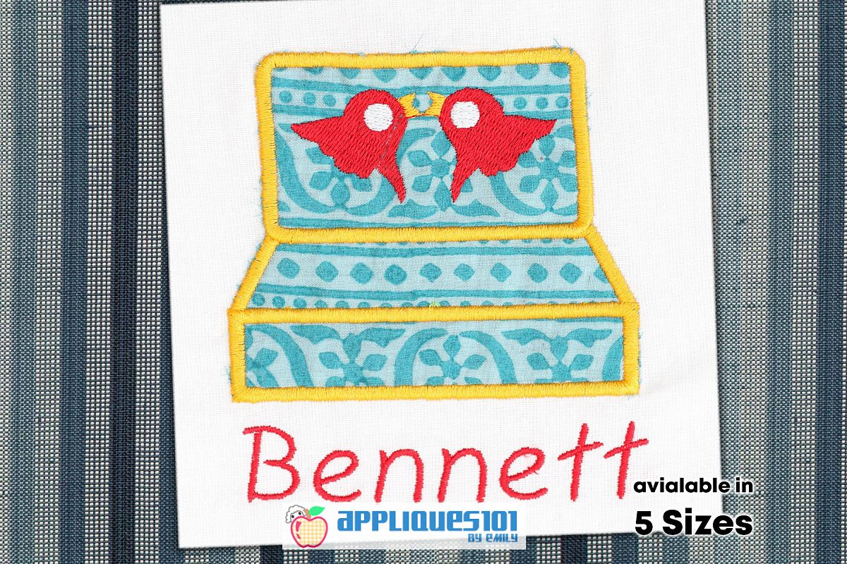 Rings Box Machine Embroidery Applique Design - Boxes example image 1
