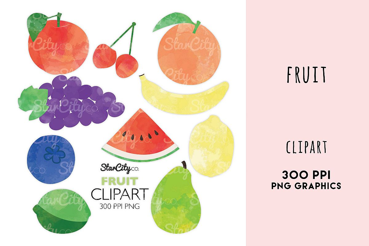 Fruit Clipart, Grapes, Watermelon art, Banana, Lemon, lime example image 1