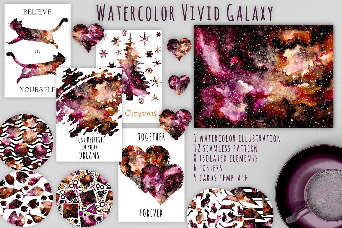 Watercolour Nebula Set example image 1