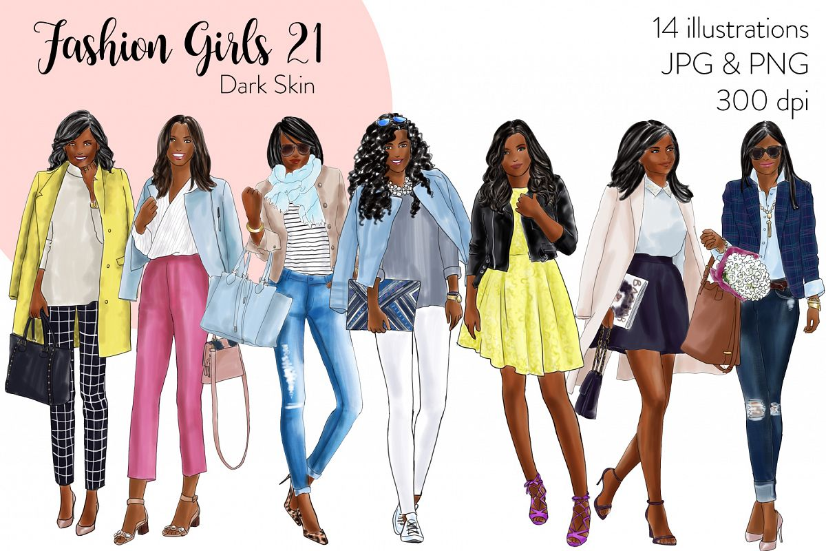 Fashion illustration clipart - Fashion Girls 21 - Dark Skin example image 1