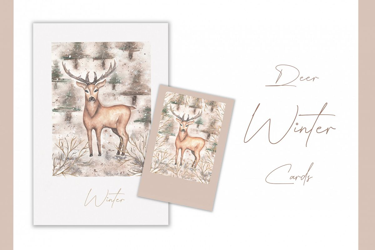 Watercolor winter deer cards example image 1