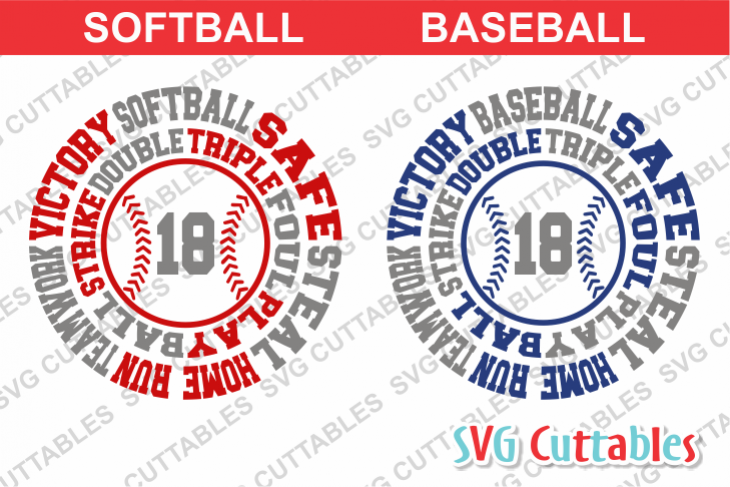 Baseball / Softball Round Subway Art cut file example image 1