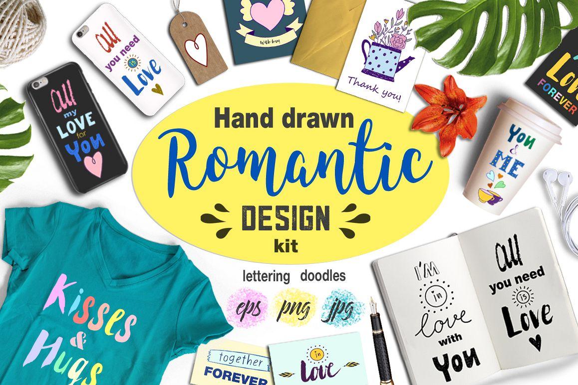 Hand drawn Romantic design kit example image 1