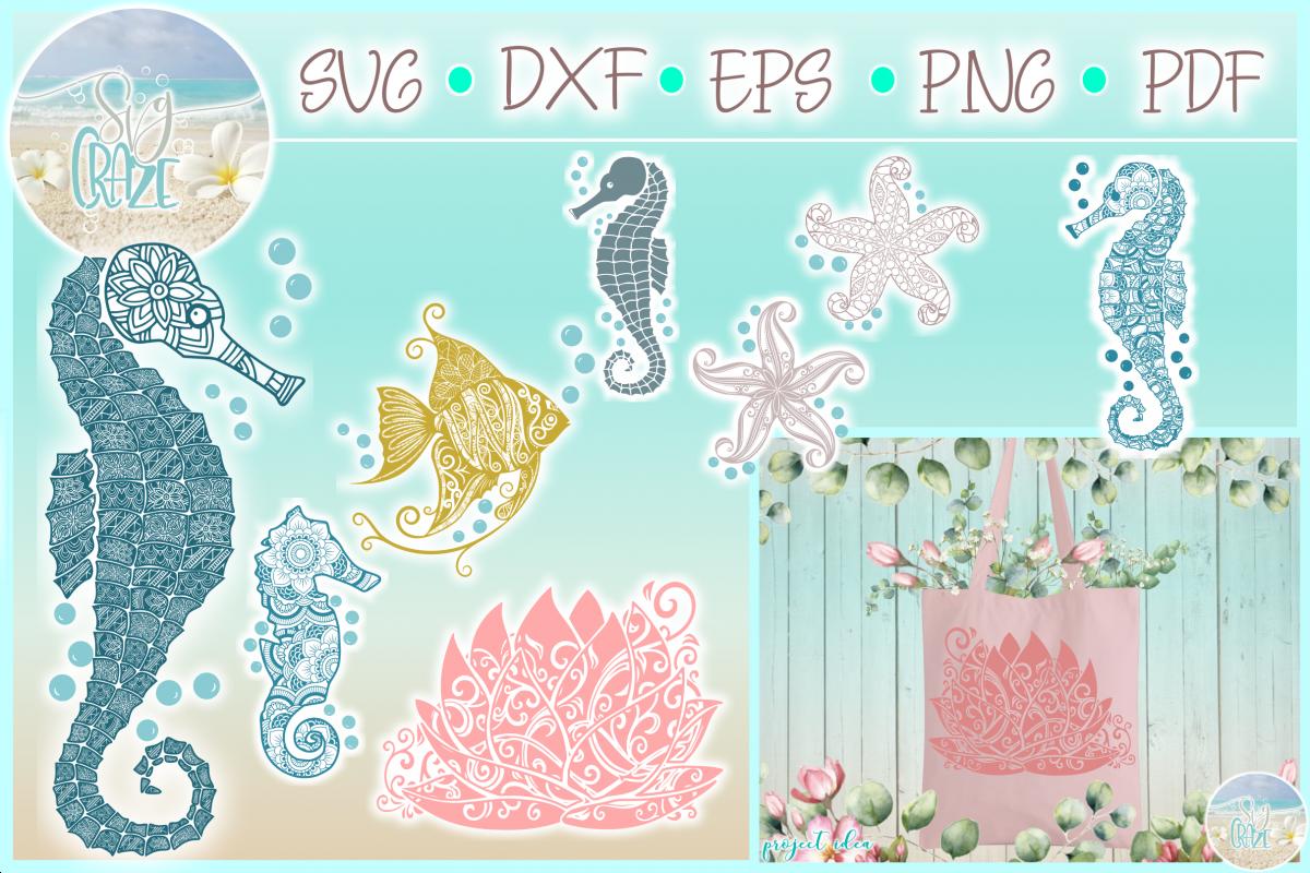 Sea Life Mandala Zentangle Bundle in SVG Dxf Eps PNG files example image 1