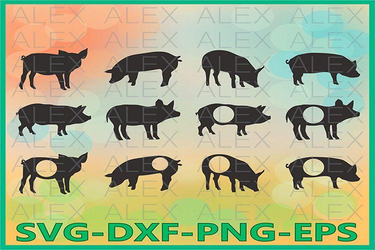 Pig svg, Pig Monogram SVG, Pig Silhouette, Farm Svg example image 1