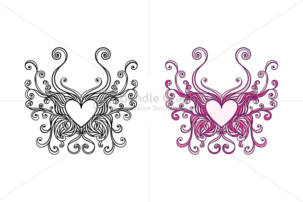 Butterfly Heart Ornamental Design  example image 1