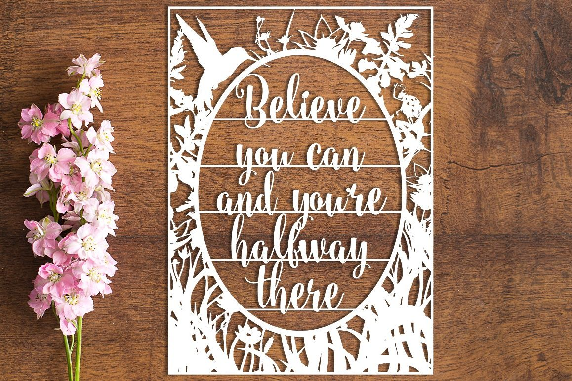 Believe You Can - Paper Cutting Template example image 1