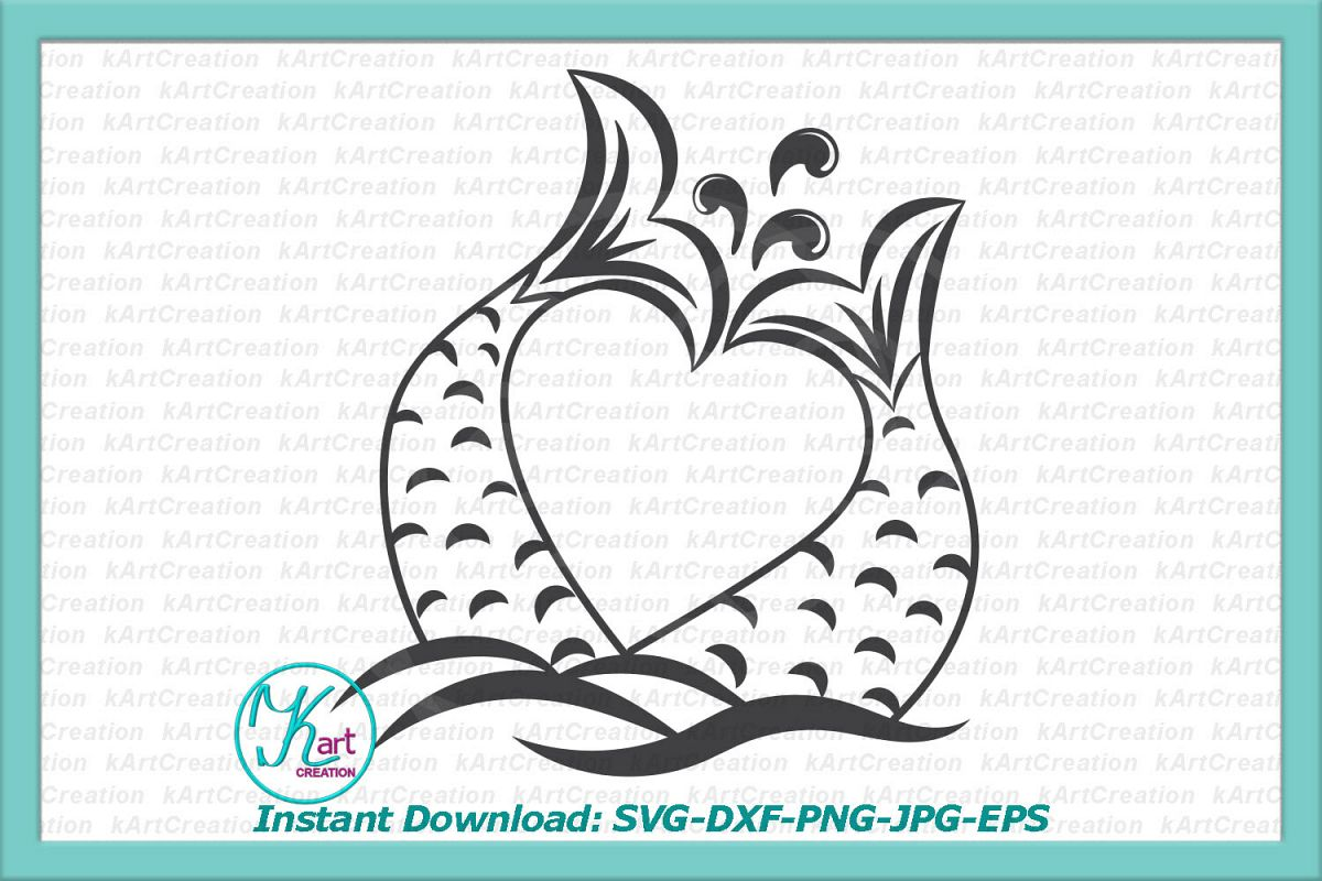 Valentine couple heart shaped mermaid tails fish tails svg example image 1
