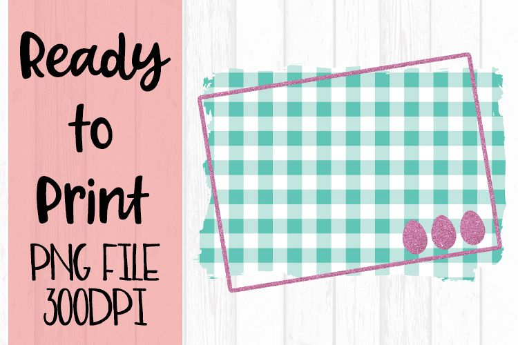 Spring Easter Teal Gingham Frame Ready to Print example image 1