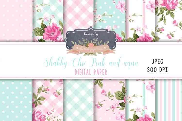 Aqua And Pink Floral Digital Paper Wedding Background
