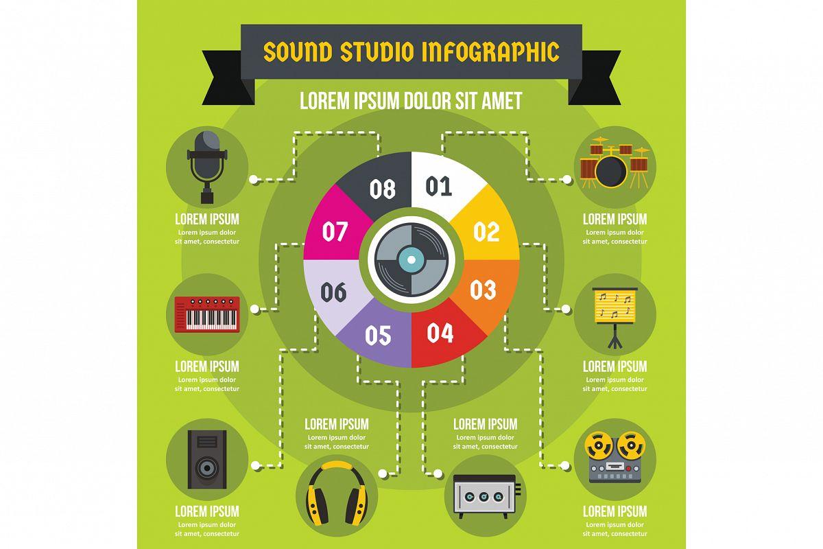 Sound studio infographic concept, flat style example image 1