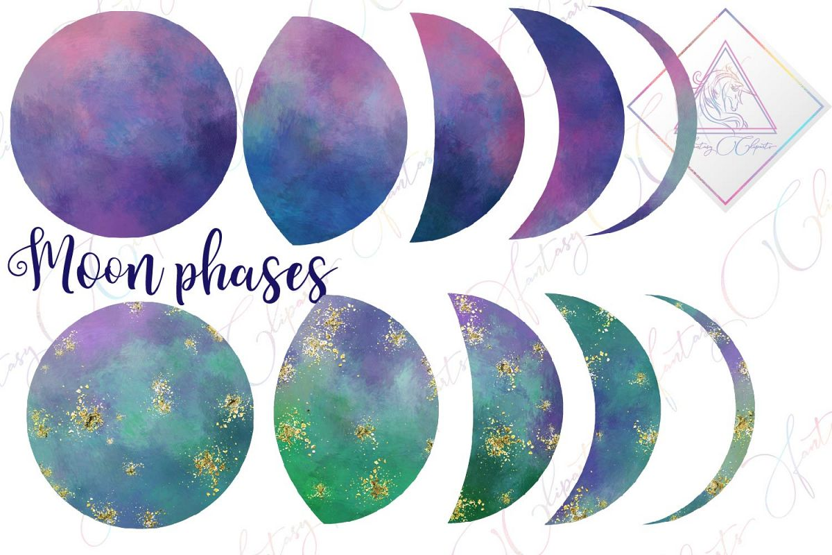 Galaxy Moon Phases Clipart example image 1