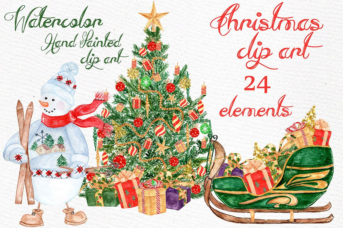 Watercolor Christmas clipart example image 1