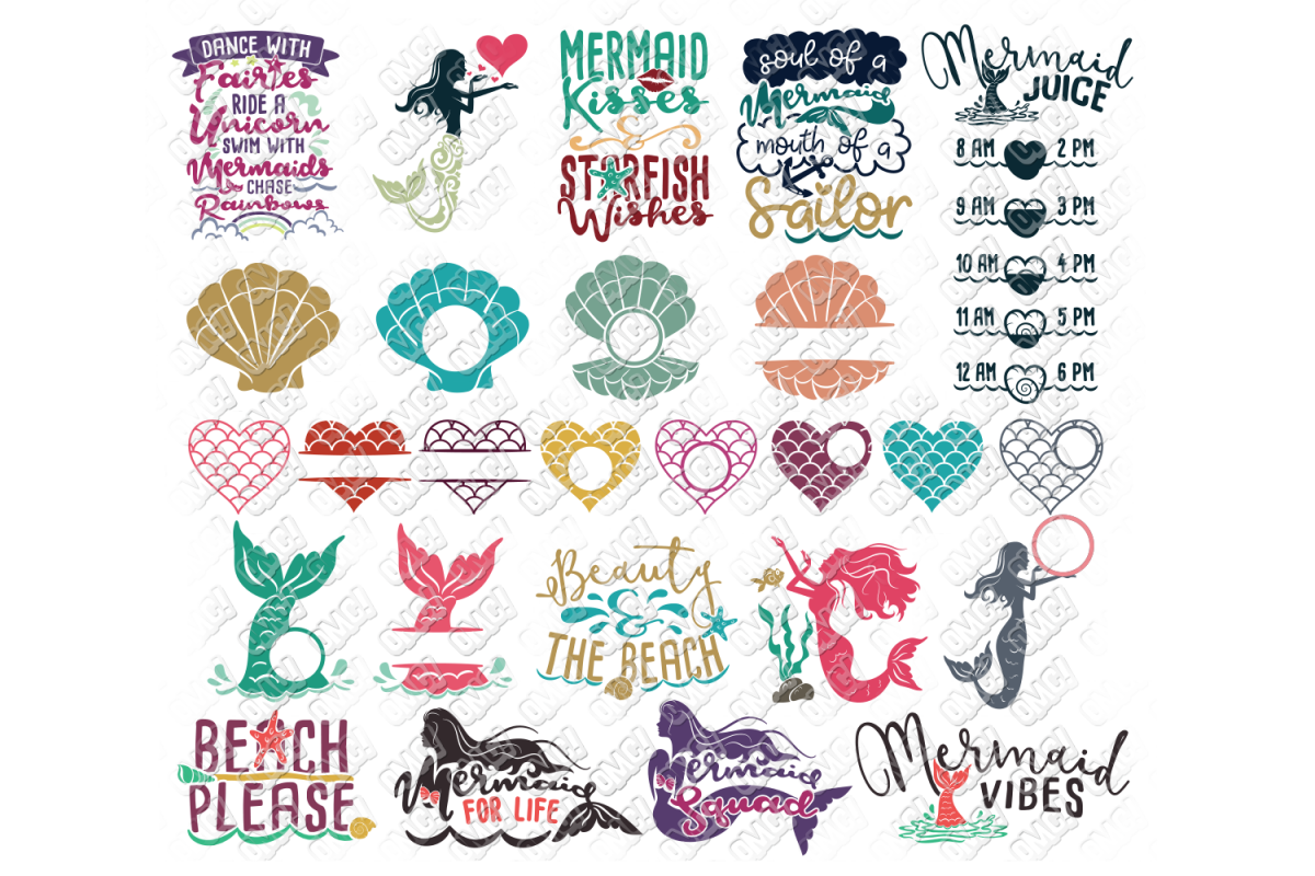 Mermaid SVG Bundle Quotes Sayings Monogram in SVG/DXF/PNG/JP example image 1