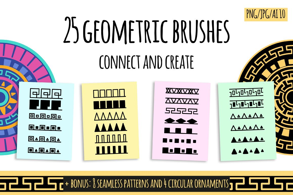 25 geometric brush fore Photoshop and Illustrator example image 1