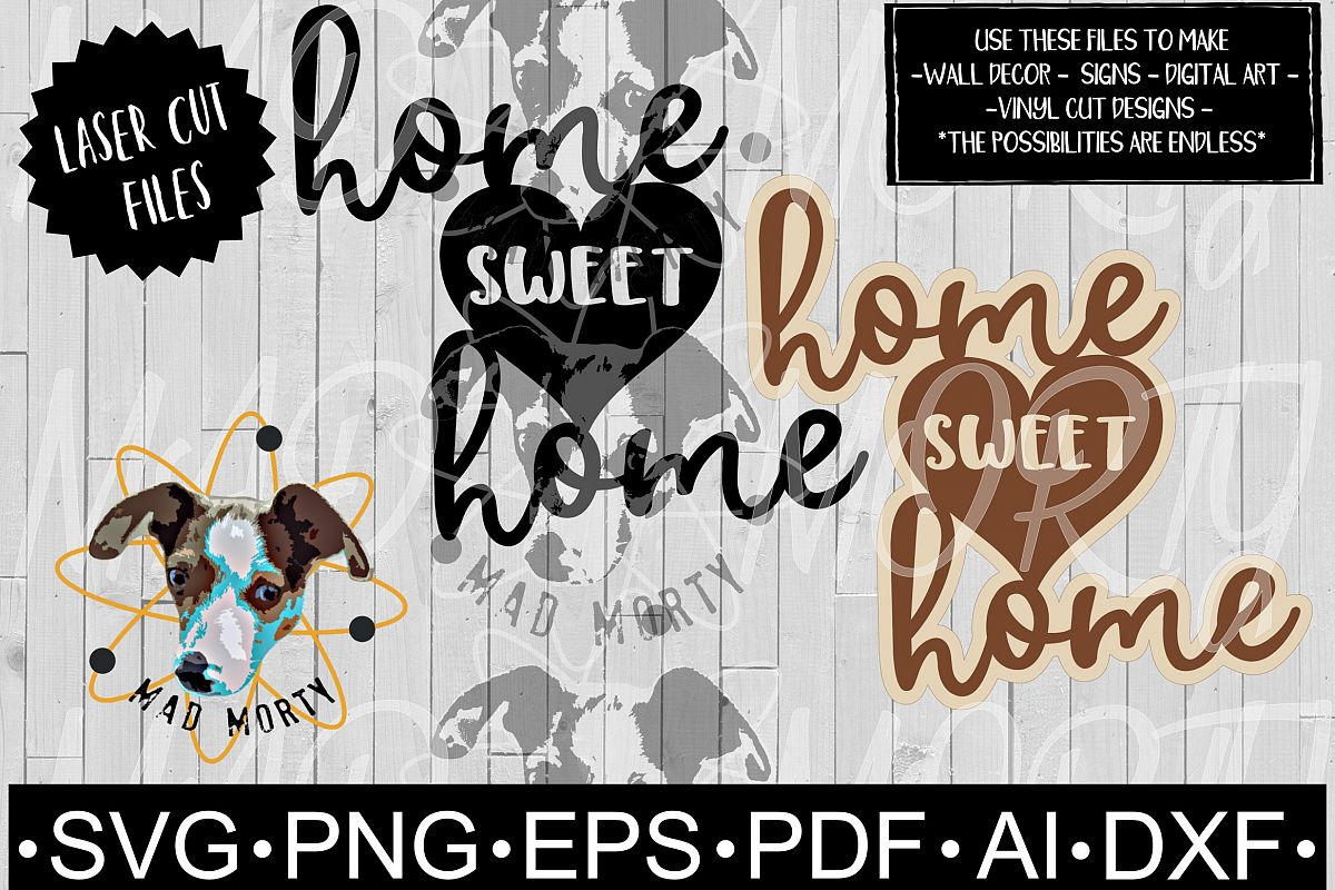 Home Sweet Home Heart SVG & Laser Ready Cut File example image 1