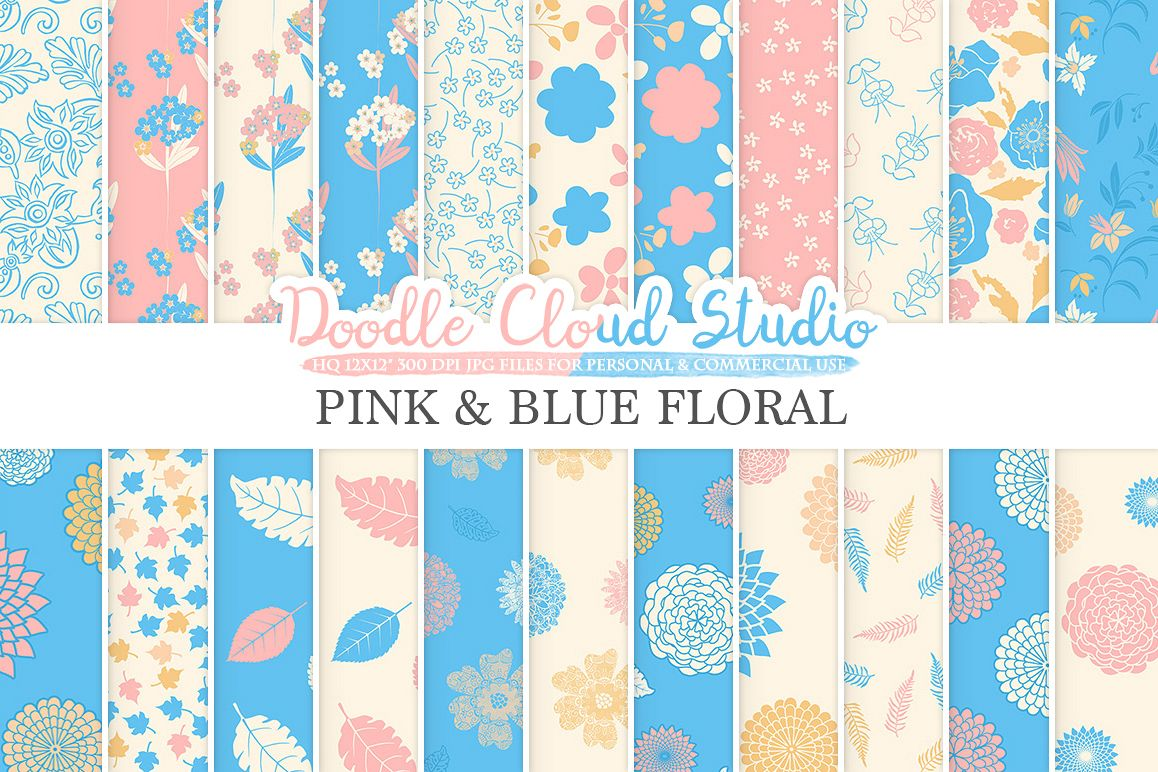 Pink and Blue Floral digital paper, Floral pattern Flowers Dhalia Leaves Damask Calico Azure backgrounds for Personal & Commercial Use example image 1