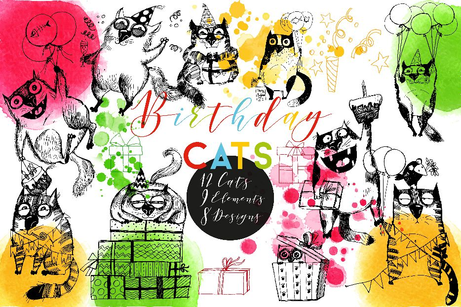 Funny birthday cats example image 1