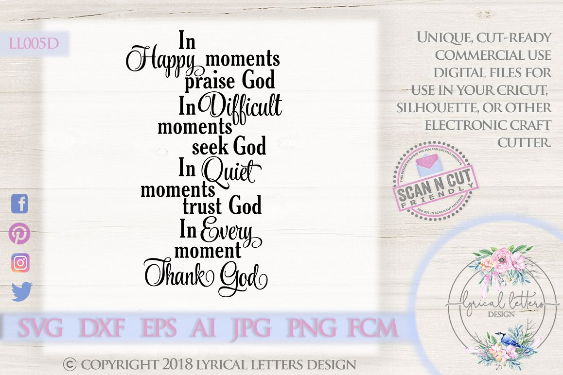 In Happy Moments Praise God Christian SVG DXF LL005D example image 1