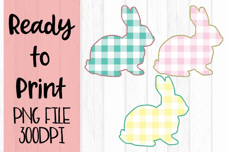 Spring Easter Glitter Bunnies Trio Ready to Print example image 1