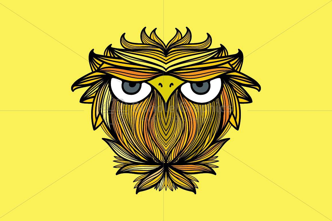 Owl - Freehand Creative Linear Graphic Artistic Composition example image 1