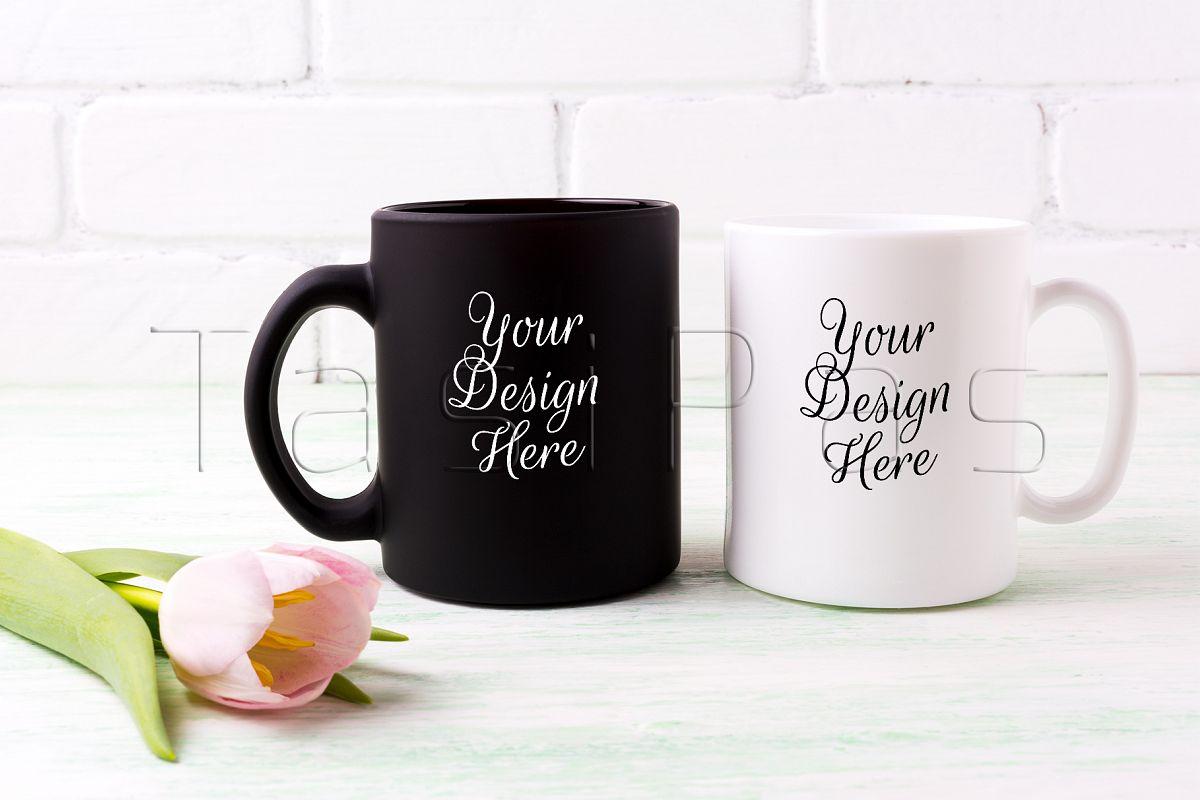white and black mug mockup with pink tulip example image 1