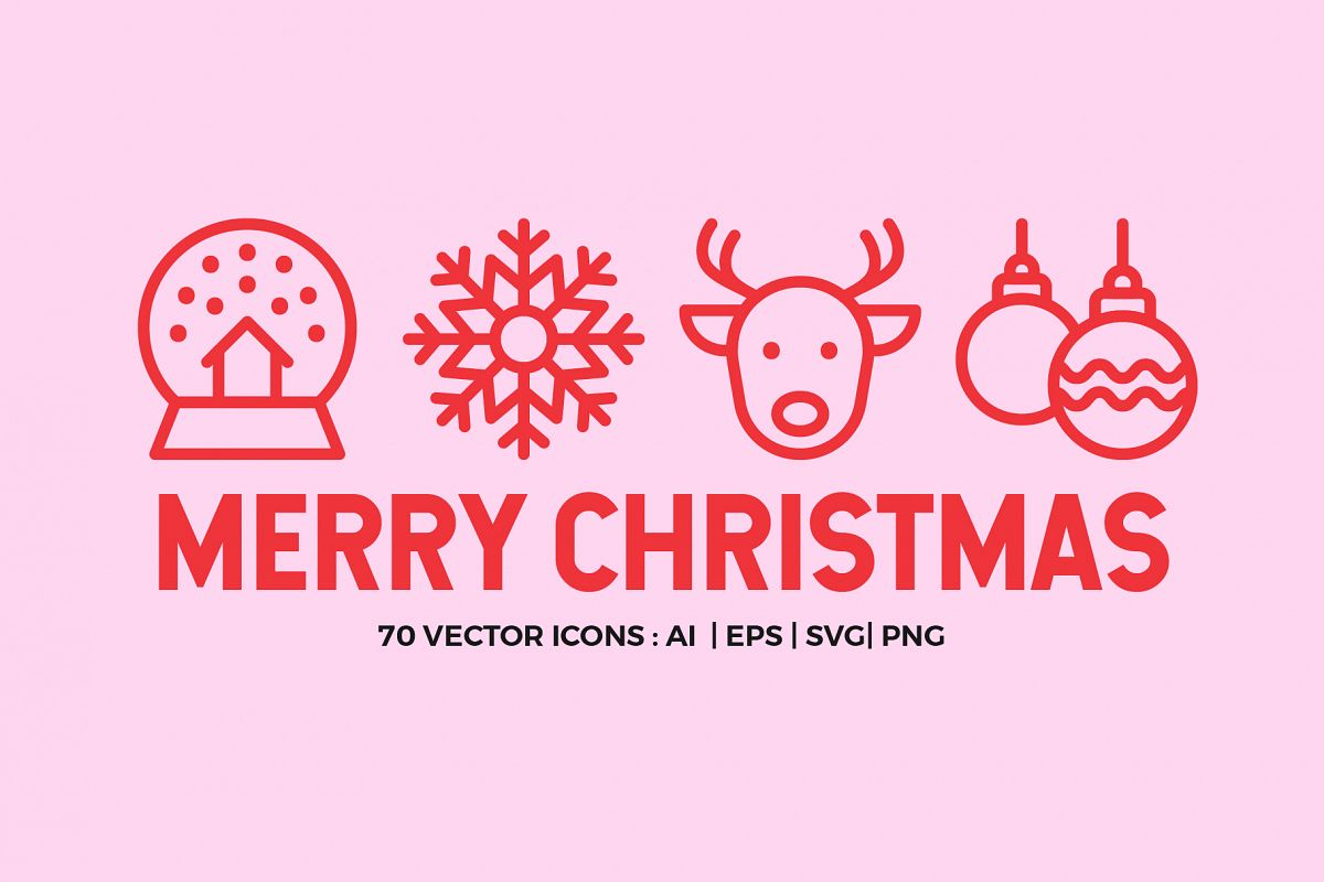Merry Christmas | Line icons Vector example image 1