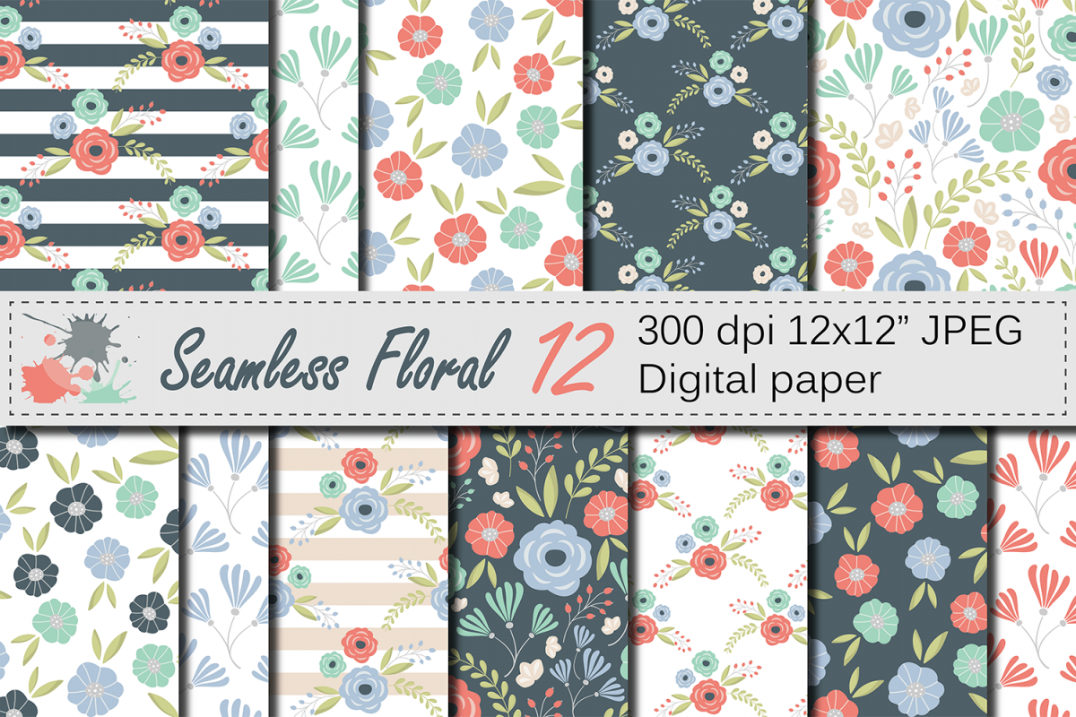 Seamless Floral Pattern Mother S Day Digital Paper Mint Coral
