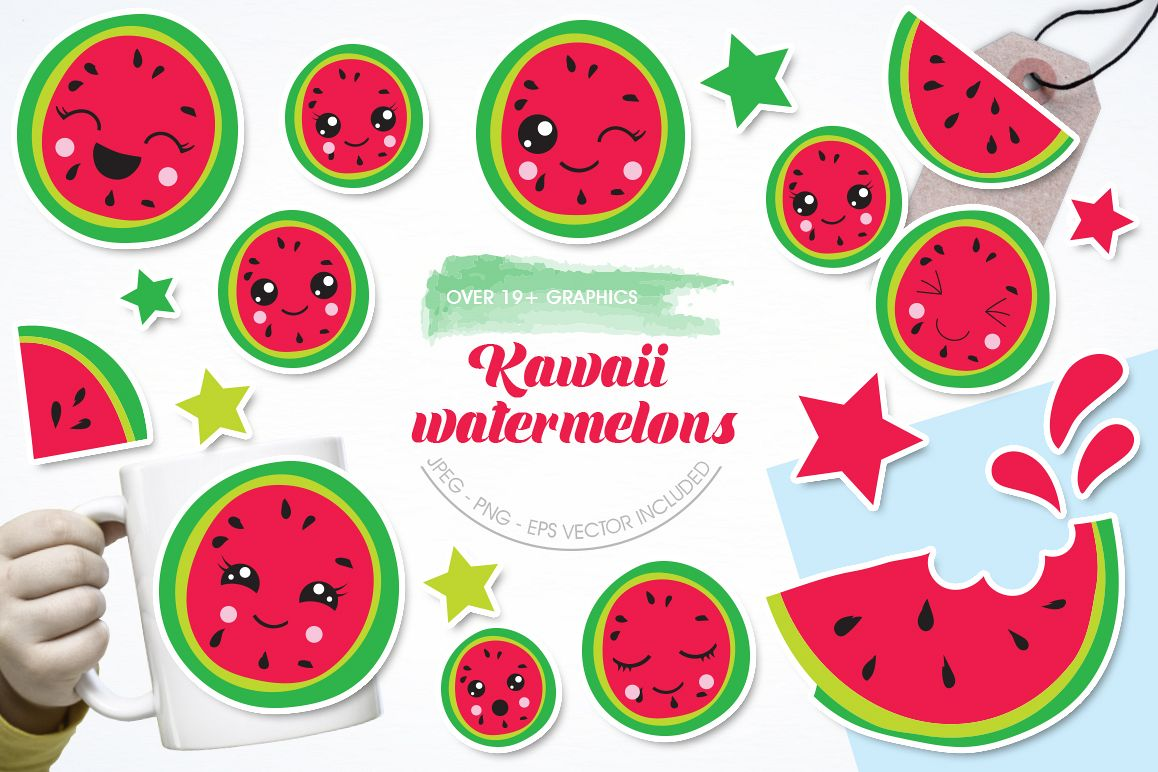 Kawaii Watermelons graphic and illustrations example image 1