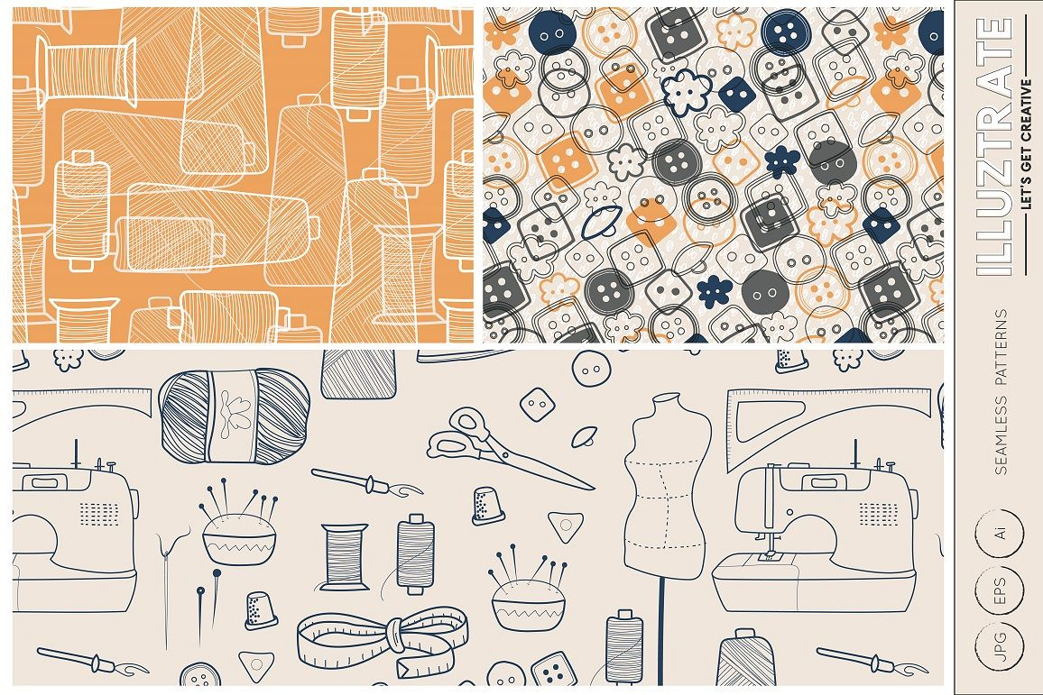 Sewing Seamless Patterns, Vector Patterns, Digital Papers example image 1